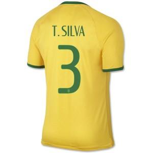 Camiseta nueva Brasil de la Seleccion T.Silva Primera WC2014