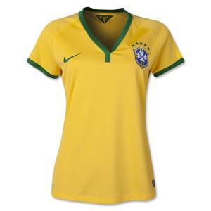 Camiseta nueva del Brasil de la Seleccion WC2014 Mujer Primera