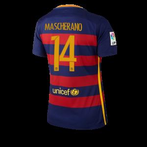 Camiseta Barcelona Numero 14 Primera Equipacion 2015/2016 Mujer