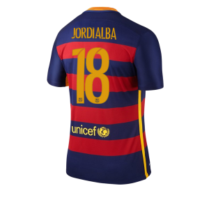 Camiseta Barcelona Numero 18 JORDI Primera Equipacion 2015/2016