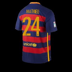 Camiseta Barcelona Numero 24 MATHIE Primera Equipacion 2015/2016