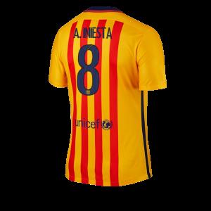 Camiseta Barcelona Numero 08 A. INI Segunda Equipacion 2015/2016