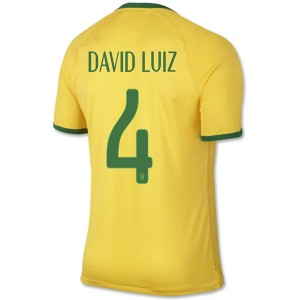 Camiseta Brasil de la Seleccion David Luiz Primera WC2014